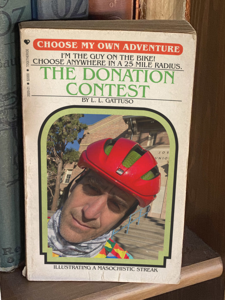 "Me on a fake ""choose your own adventure"" book cover."