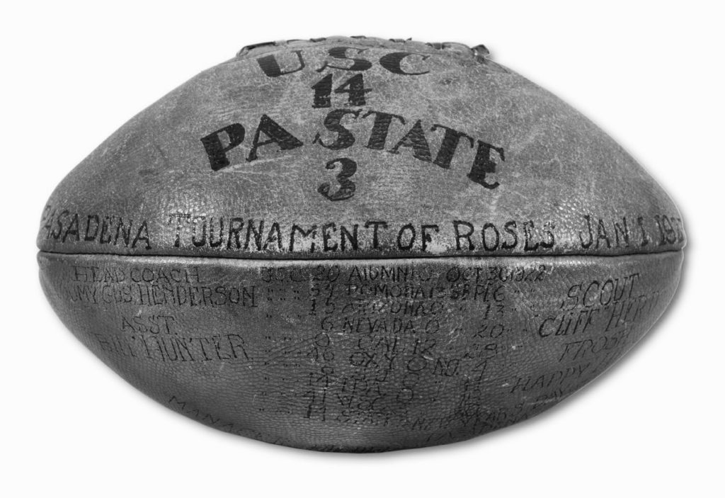 The football from the first game played at the Rose Bowl